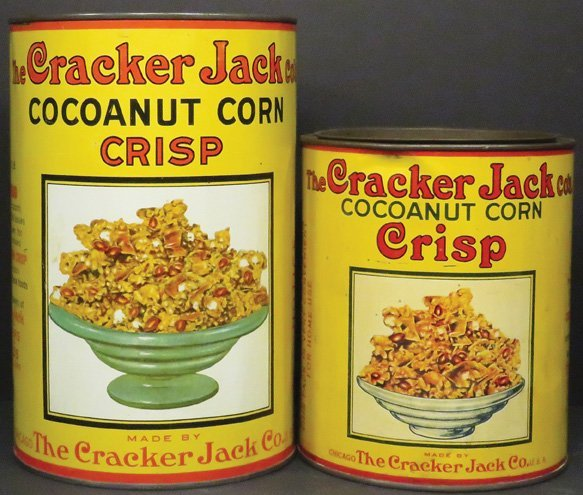 Two Cracker Coconut Corn Crisp Tins