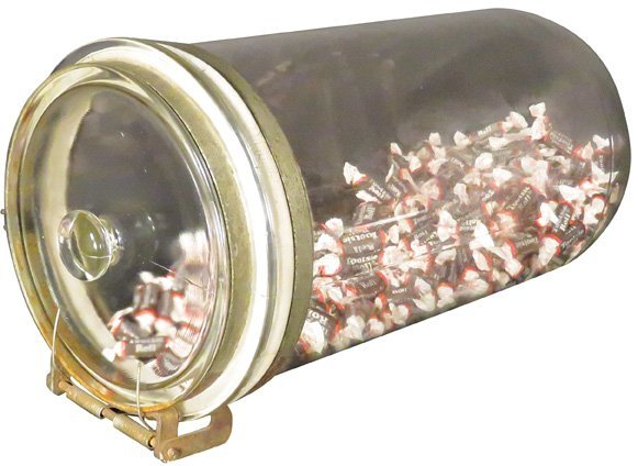 Unusual Horizontal Glass Store Candy Jar