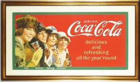"1923 Coca Cola ""Four Seasons"" Trolley Car Sign"