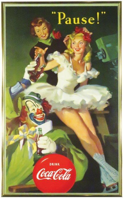 1950 Coca Cola Cardboard Sign