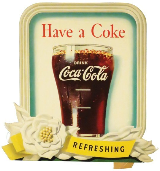1949 Coca Cola Die Cut Cardboard Sign