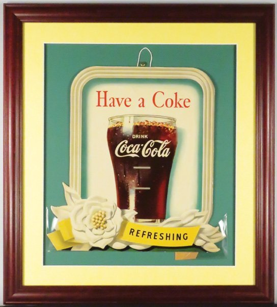 1949 Coca Cola Die Cut Cardboard Sign - 2