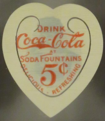 1896 Coca Cola Celluloid Heart Book Mark - 2