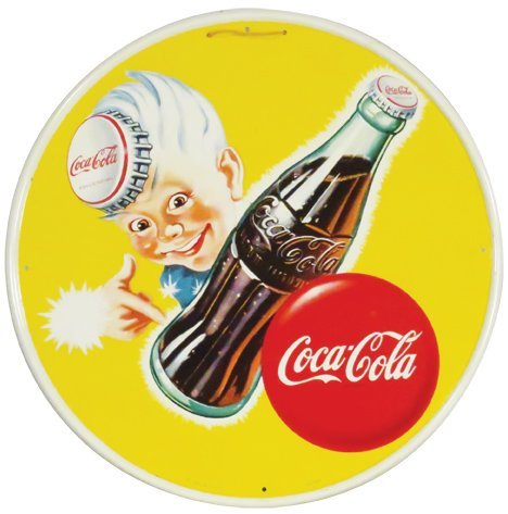 "Coca Cola ""Sprite Boy"" Self Framed Tin Sign"