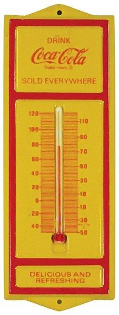 Coca Cola Embossed Tin Thermometer