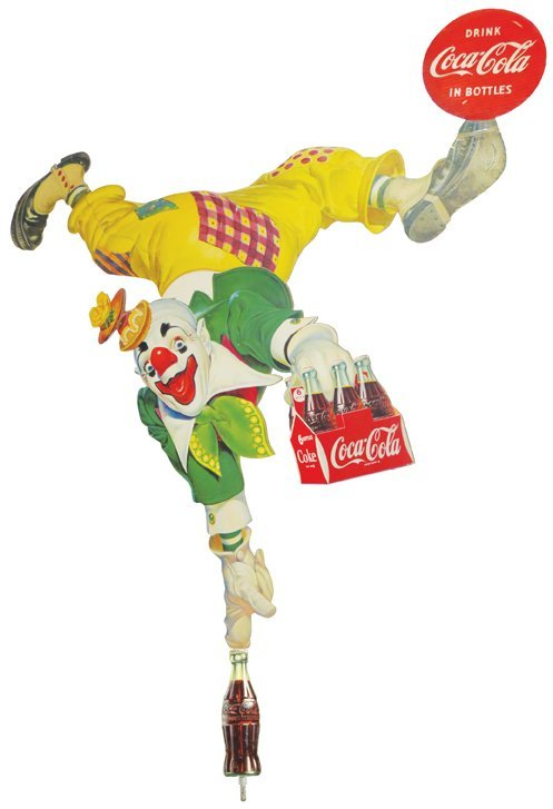 Coca Cola Clown Die Cut Sign, 6 pack Version