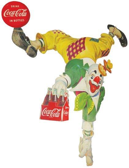 Coca Cola Clown Die Cut Sign, 6 pack Version - 2