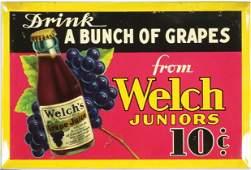 Welchs Grape Juice Tin Over Cardboard Sign
