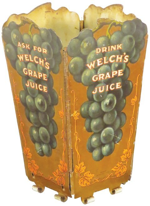 Rare Welch's Grape Juice Tin Litho Straw Holder