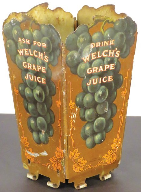Rare Welch's Grape Juice Tin Litho Straw Holder - 2