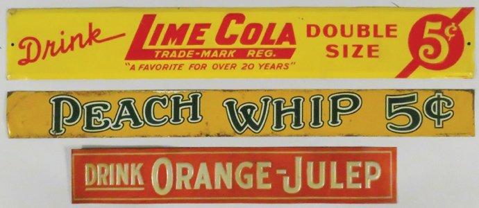 Three Tin Soda Signs