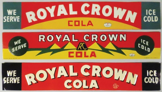 Three Royal Crown Cola Embossed Tin Signs