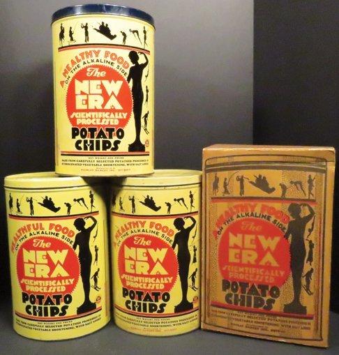 Collection of New Era Potato Chip Tins and Box