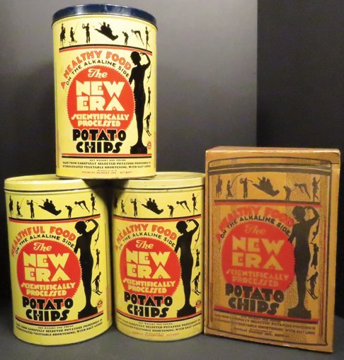 Collection of New Era Potato Chip Tins and Box