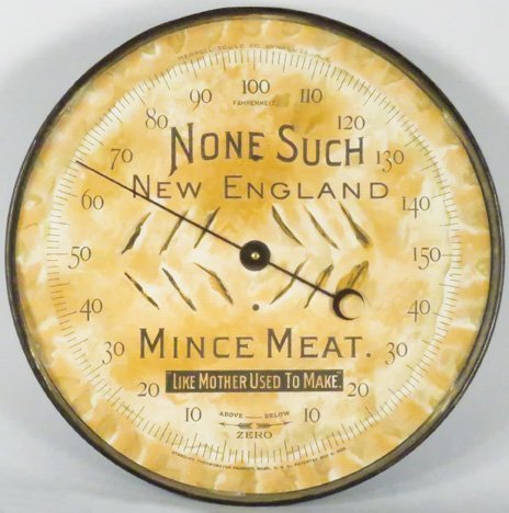 None Such Pie Pan Advertising Thermometer
