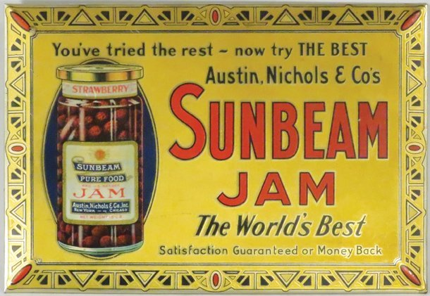 Sunbeam Jam Beveled Tin Over Cardboard Sign
