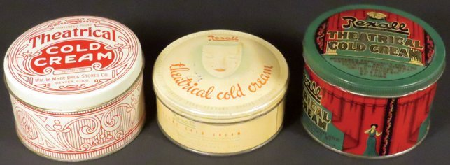 Three Tin Theatrical  Cold Cream Tins
