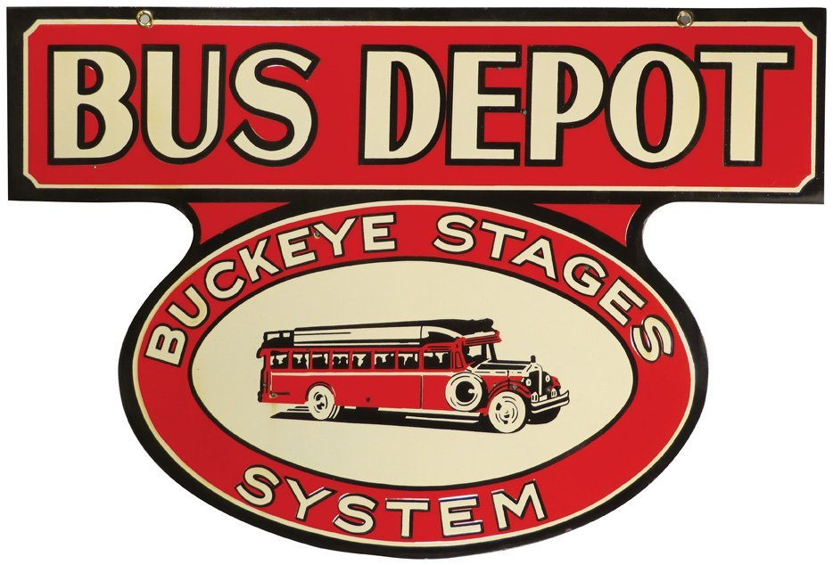 "Bus Depot ""Buckeye Stage"" System Porcelain Sign"