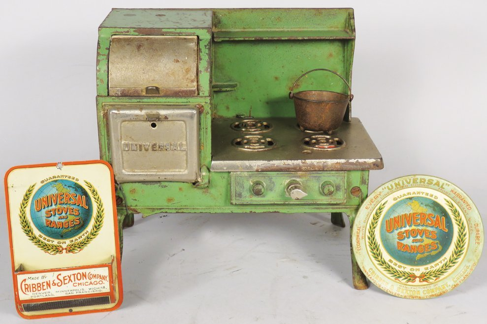 Child's / Doll Universal Cook Stove with Advertising