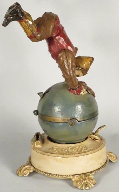 Clown on Globe Cast Iron Mechanical Bank - 3
