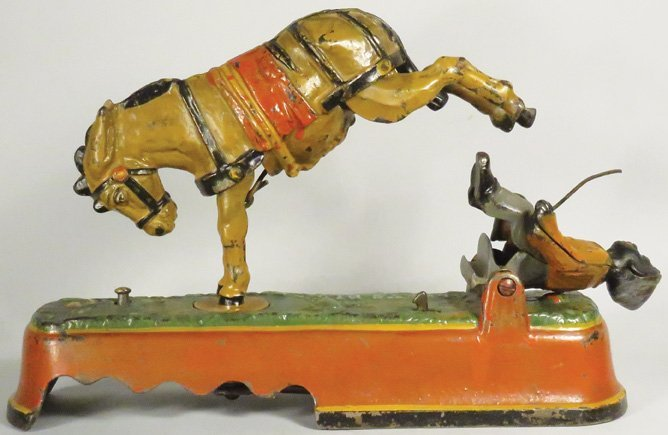 Always did Spise a Mule Cast Iron Mechanical Bank - 2