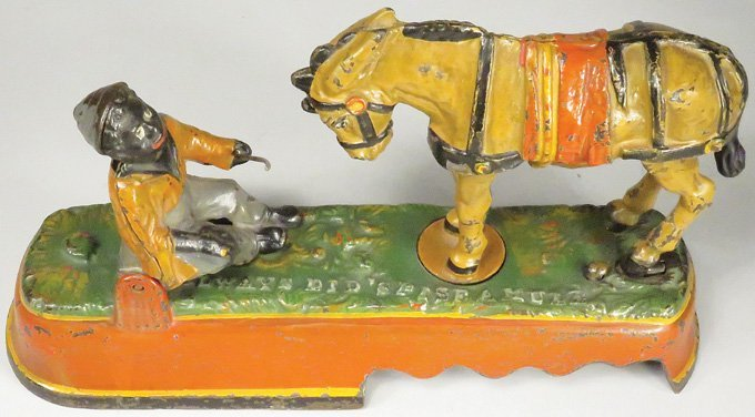 Always did Spise a Mule Cast Iron Mechanical Bank - 3