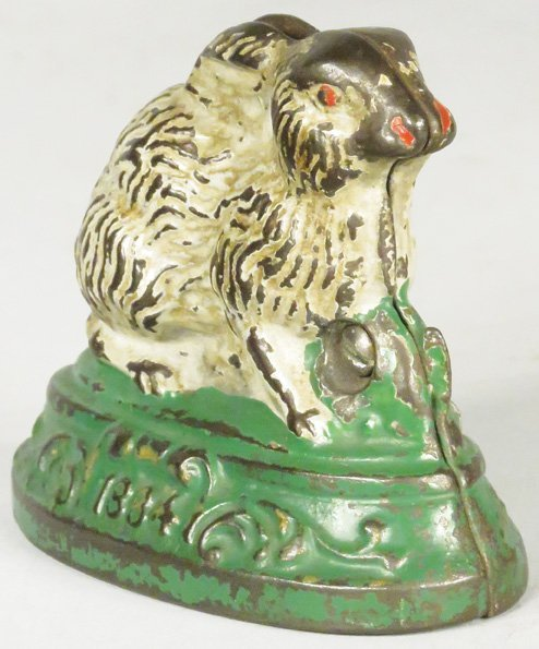1884 Rabbit on Base Cast Iron Bank