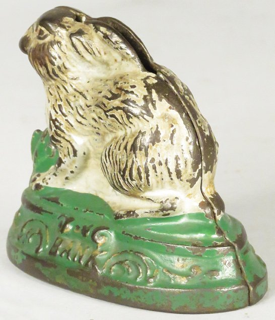 1884 Rabbit on Base Cast Iron Bank - 2