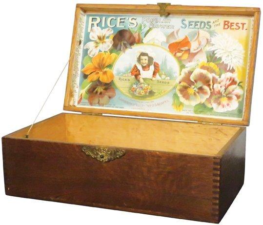 Rice's Flower Seeds Wood Store Display Box