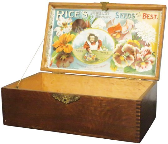 Rice's Flower Seeds Wood Store Display Box