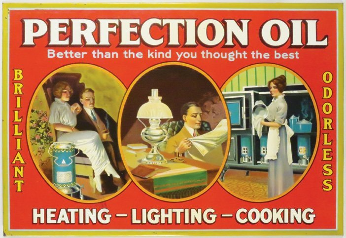 Perfection Oil Tin Over Cardboard Sign