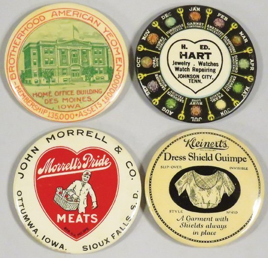 Collection of 4 Celluloid Advertising Pocket Mirrors