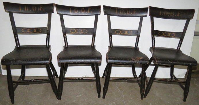 Four IOOF Wood Chairs
