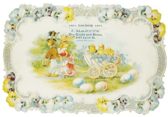 1901 Easter Greetings Die Cut Sign