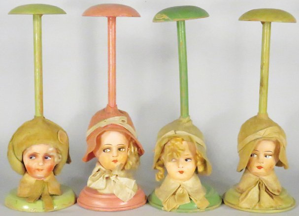Collection of 4 Millinery Store Hat Stands