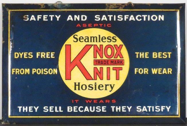 Knox Knit Hosiery Celuloid Over Cardboard Sign