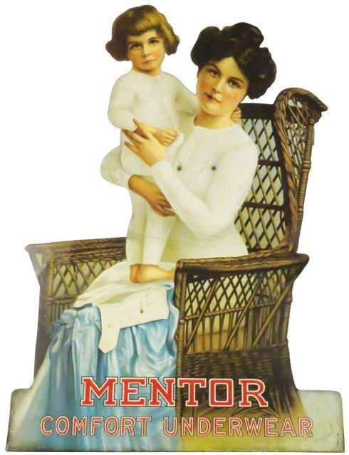 Rare Mentor Comfort Underwear Die Cut Tin Sign