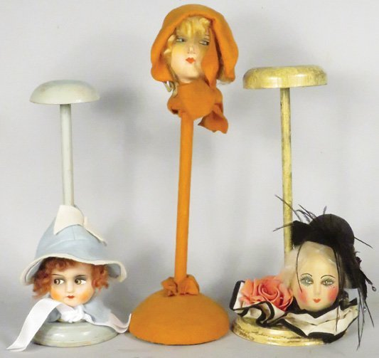 Three Millinery Hat Stands