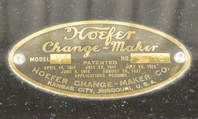Hoefer Change Maker Co. Model D-1 - 3