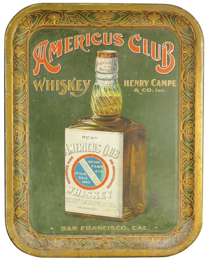 Americus Club Whiskey Tin Serving Tray