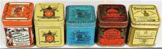 Collection of 5 Early Typewriter Ribbon Tins
