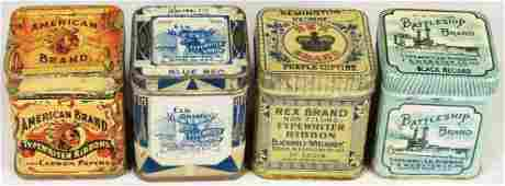 Collection of 4 Early Typewriter Ribbon Tins