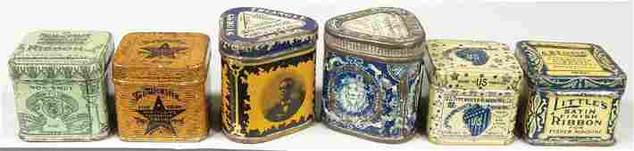Collection of 6 Early Typewriter Ribbon Tins