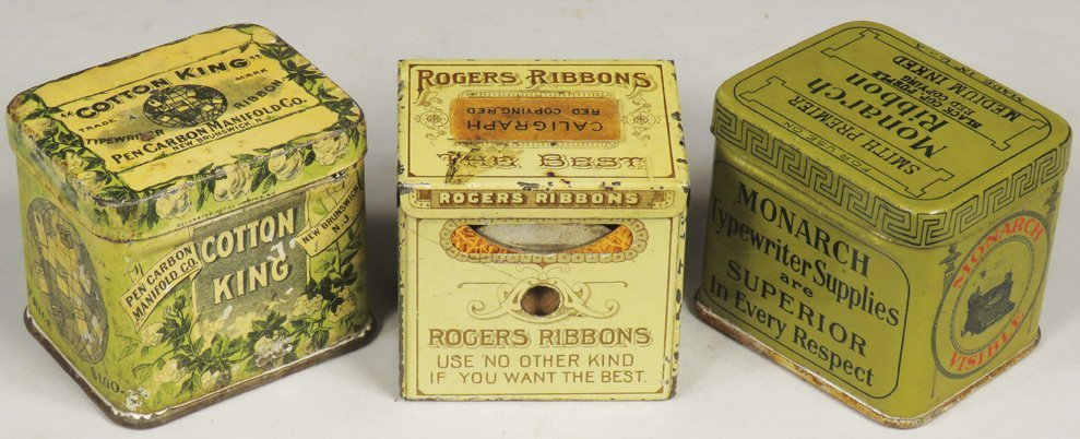 Collection of 3 Early Typewriter Ribbon Tins