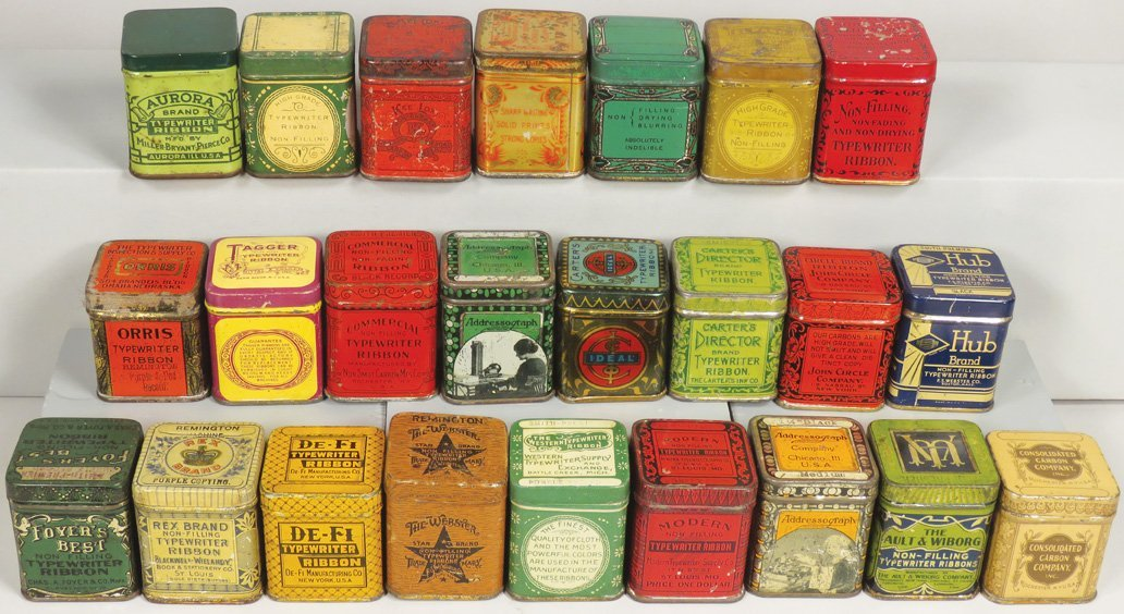 Collection of 24 Early Typewriter Ribbon Tins