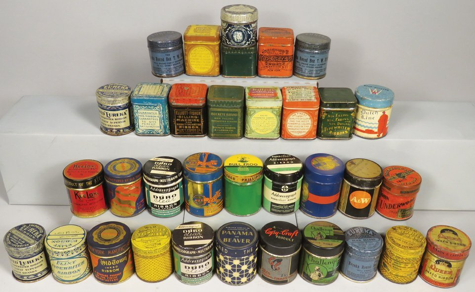Collection of 34 Early Typewriter Ribbon Tins