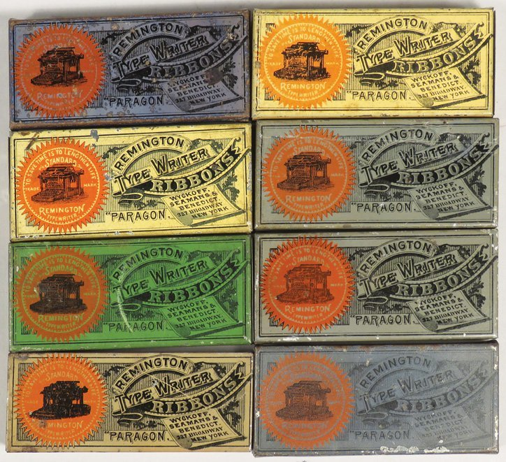 Collection of 8 Early Typewriter Ribbon Tins