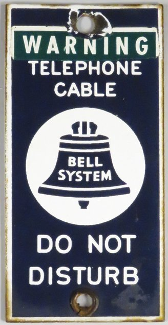 Warning Telephone Cable Porcelain Sign