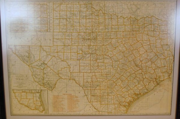 29A: Large Framed Map of TX Railroads