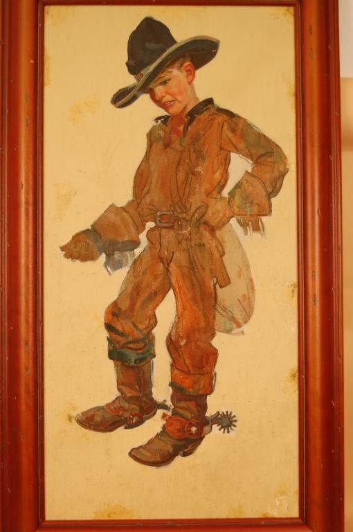 492: Oil Leyendecker Canvas Paintaing of Young Cowboy